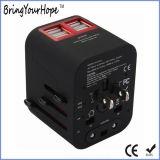 De zwarte Universele Adapter van de Macht van de Reis met Lader 4 USB (xh-uc-014)