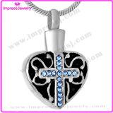 De Vorm van het hart met de DwarsMedaillonnen van de Tegenhangers van de Juwelen van de Crematie van het Patroon voor Roestvrij staal van de Juwelen van de As het Herdenkings