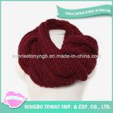 Lãs acrílicas que tricotam manualmente o lenço por atacado do vermelho do algodão