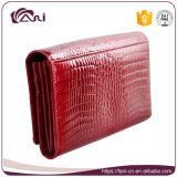 Met de hand gemaakte Dame van uitstekende kwaliteit Cow Leather Wallet met de Huid van de Krokodil