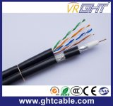 Cable de la red de Muti-Media 4p UTP Cat5e con el cable coaxial RG6