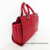 Повелительница PU напечатанные сумки способа поставщика Китая с заклепками (NMDK-15009)