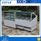 Showcase do gelado/refrigerador de vidro retos brancos do bolo
