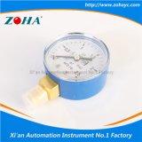 青い鋼鉄箱が付いている酸素の圧力計