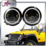 """L'angelo LED di SAE 50W 10-30V 7 del PUNTINO del nuovo prodotto del faro rotondo 7 di pollice """" Eyes gli anelli bianchi di guidacarta del faro DRL per il Wrangler Jk/Cj della jeep"""