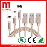 Cable trenzado micro de la tela de la sinc. de la carga y de los datos del USB para el androide