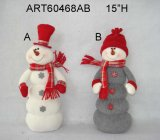 "12 ""H Sitting Santa and Snowman, 2 Décoration Asst-Christmas"