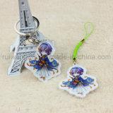 Trousseau de clés acrylique de personnage de dessin animé d'impression UV, chaîne principale acrylique, porte-clés acrylique fait sur commande