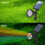 자동적인 온/오프 센서를 가진 조정가능한 4개의 LED 벽 마운트 /Landscape 삽입 태양 빛2 에서 1 태양 스포트라이트