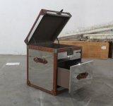 Mobiliário de aço inoxidável com couro Brown mesa lateral, mesa de canto, Noite