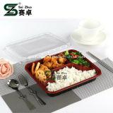 800ml engrossam a bandeja plástica descartável do almoço de 4 compartimentos