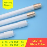 0.6m T8 tubo de cristal del LED 14W 8W De China Fábrica