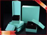 Rectángulo de joyería de la PU de la manera de la caja de embalaje de la joyería del papel azul