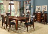 食堂は椅子および表の木の家具をセットする