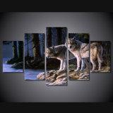 HD imprimió la lona Mc-019 del cuadro del cartel de la impresión de la decoración del taller de impresión de la lona de pintura de los lobos del animal dos