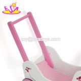 Neuer Entwurfs-reizender rosafarbener hölzerner Puppe-Spaziergänger für Baby-Stoß entlang W16e085