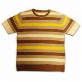 Men's Sweater with Short-Sleeve, Striped Front (JXSC003)