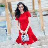 Spectacle de mariage Star Style mince feuille de lotus Dame rouge vêtements à manches courtes