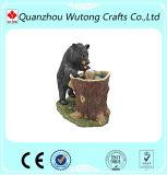 귀여운 한 쌍 곰 정원 샘 탁상 동물성 수지 분수 훈장