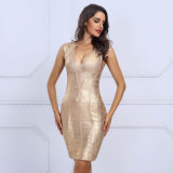 Deep V Bandage Gold Club de nuit robes d'estampillage