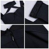 Bandage de piste Robe satin noir Halter Backless evider robe de fête élégante robe Bodycon Hot Celebrity