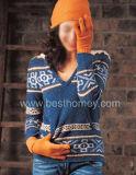 女性の女性のJaquardのカシミヤ織のニットウェア(SWT-L11017)