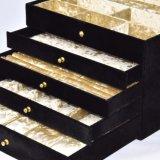 Doos van de Vertoning van de Opslag van de Juwelen van het Leer van de luxe de Zwarte Grote Verpakkende (8843)