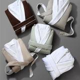 Шаль халат для роскошный комплекс спа халат банный халат из микроволокна с хлопок Терри долго Gowns внутренней панели боковины