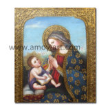 Pittura a olio Handmade del bambino e di Madonna su tela di canapa Cracked