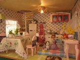 DIY boneca de madeira House mobílias House sala de estar com brinquedos educativos