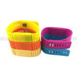 Wristband reusável personalizado do silicone da impressão 13.56MHz RFID do logotipo