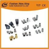 China Fabricación CATV CCTV Cable coaxial RG6 con conector de la bbc conector F