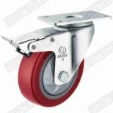 5 pouces rouges polyuréthane Roulette industrielle de roue avec roulement à billes de précision simple G3212