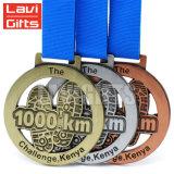 Progettare medaglia per il cliente del premio di sport placcata rame dell'oggetto d'antiquariato del randello timbrata metallo la vecchia con il nastro inciso di marchio