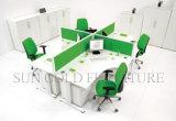 現代オフィス用家具の木の4つのシートのディバイダの線形ワークステーション(SZ-WST836)