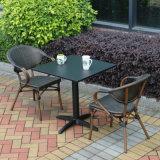 Patio Accueil Hôtel Gaden Bureau Polywood teck en aluminium de couleur de la Table et chaise de bras (J816)