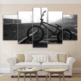 5 éléments d'art noir et blanc estampé modulaire de mur de toile d'allée de bicyclette, chambre à coucher à la maison de salle de séjour de décor