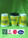 Jetable résistant à chaud à double paroi papier d'impression couleur personnalisée tasse avec couvercle