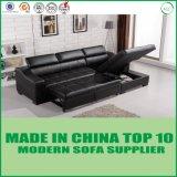 Sofa de mémoire de cuir de meubles de salle de séjour Cum le bâti