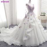 Vestido de casamento inchado 2018 das flores florais roxas dos vestidos nupciais do laço