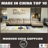 居間のための暖かいL形の革ソファーの家具