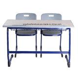 Mesa barata da escola do assento dobro de carvalho branco de Hy-0429K para estudantes