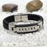 Het Roestvrij staal en het Leer van uitstekende kwaliteit Bracelet De Levering voor doorverkoop van de Fabriek van de armband (BL2875)