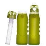 Bottiglia pieghevole ecologica di filtrazione dell'acqua del silicone del commestibile dei 2017 nuovi prodotti