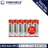 Mercury&Cadmium自由な中国の製造者のデジタルアルカリ電池(LR03-AAA 6PCS)