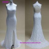 Sexy Lace Appliqued Cordão acetinado branco vestido de noiva 2018