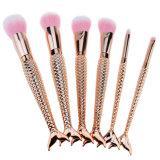 Sirena de peces de oro de pincel de maquillaje Diseño 6PZAS Foundation corrector Colorete en polvo mezcla líquido Crema de cara cosméticos ojos cepillos