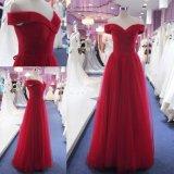 Desligar Ruched Ombro Red Senhoras vestido de noite de festa Moda Formal