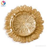 Plaque en verre décorative de chargeur d'or de mariage perlé clair transparent d'argent