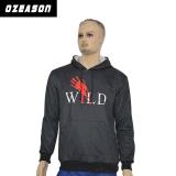 Конструкция без оптовой высокое качество обычная Pullover Custom печать худи черного цвета